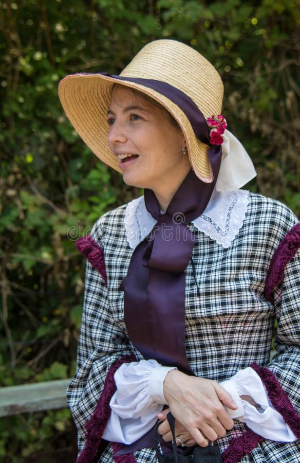 南北战争时代礼服的妇女 免版税库存照片