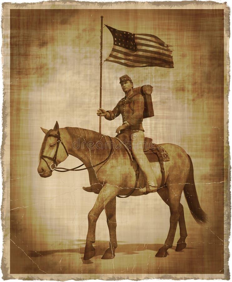 南北战争联合战士的年迈的图象在马背上 皇族释放例证
