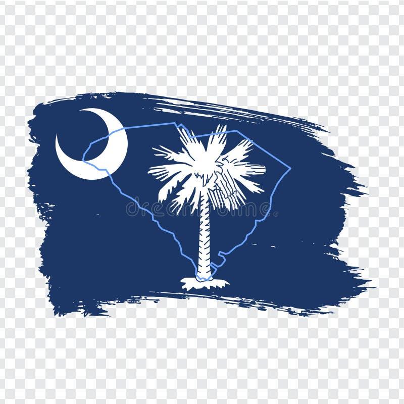 南卡罗来纳旗子从刷子冲程的 ?? 在透明背景的旗子南卡罗来纳您的网的s 皇族释放例证