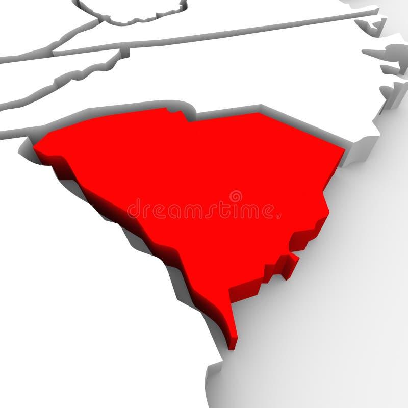 南卡罗来纳红色摘要3D状态映射美国美国 皇族释放例证