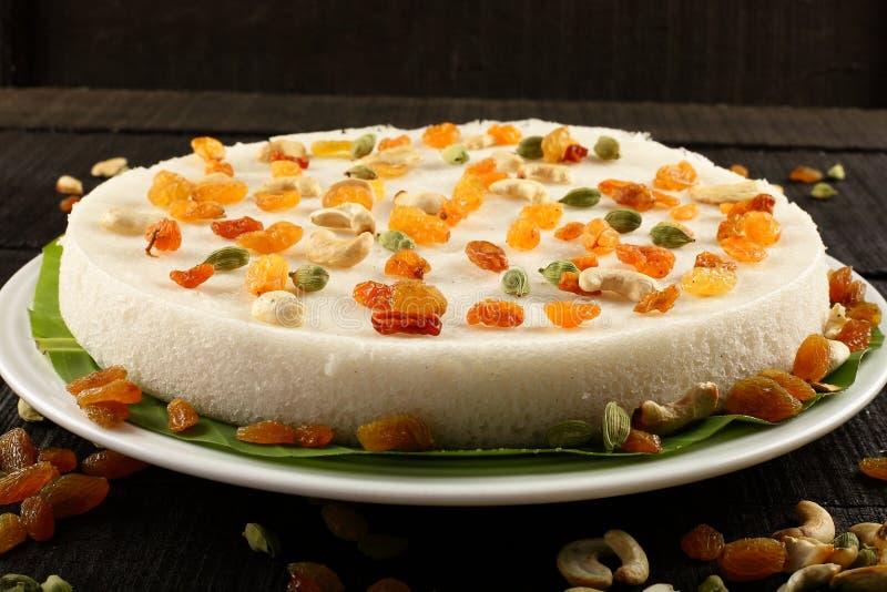 南印地安传统vattalappam甜米粉和椰子蛋糕, 图库摄影