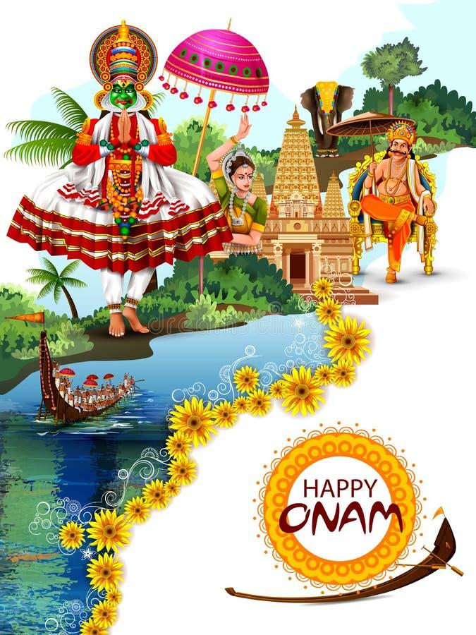 南印度节日背景的愉快的Onam假日 库存图片