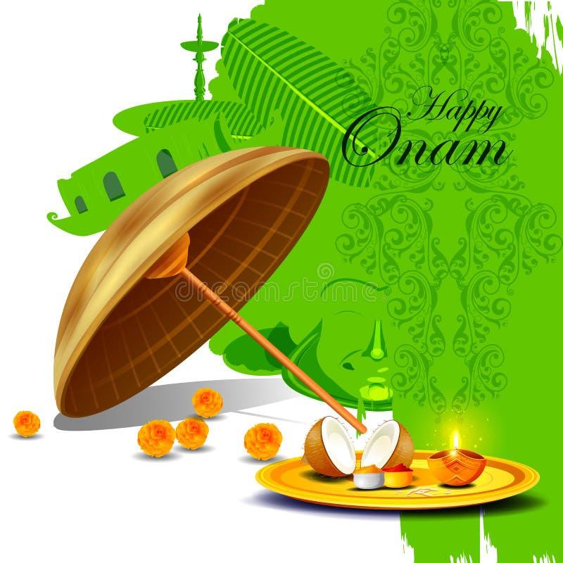 南印度节日背景的愉快的Onam假日 向量例证