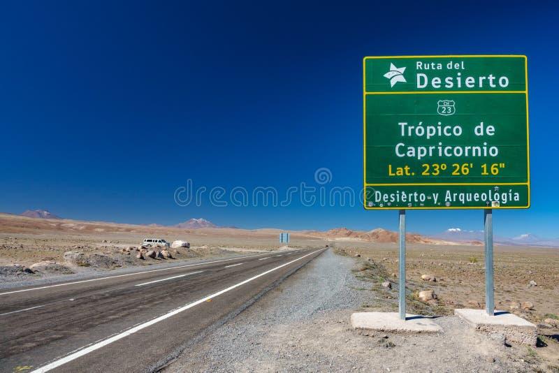 南回归线签到阿塔卡马沙漠,智利-南美洲 免版税库存照片