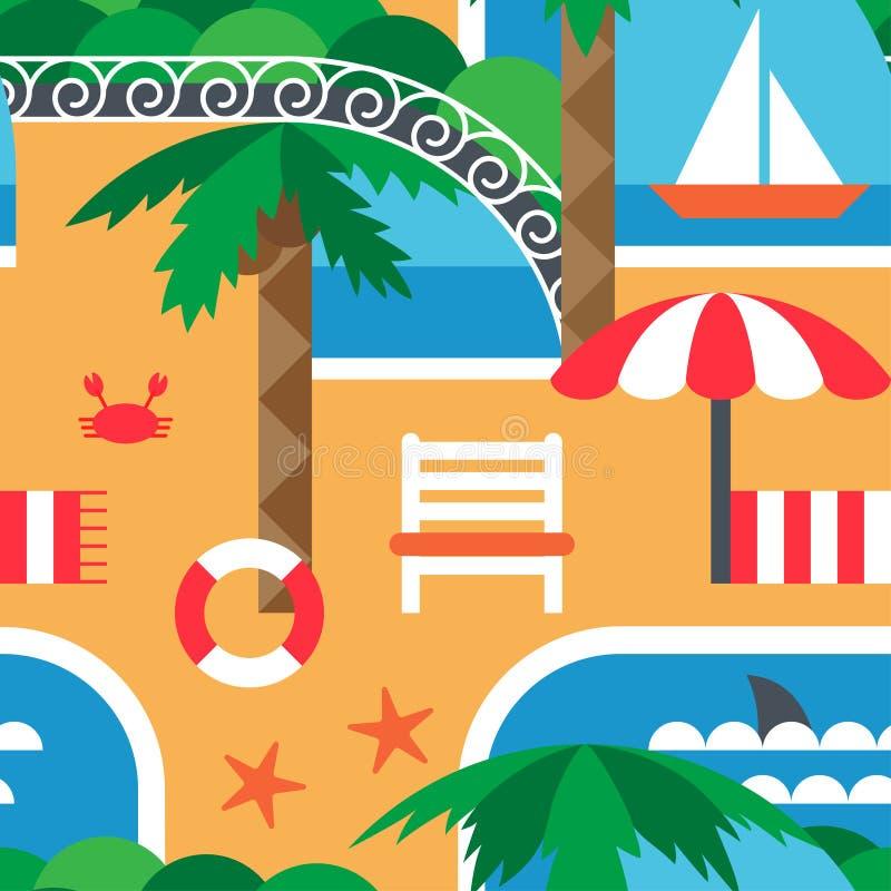 南夏天海和海滩 手段 在平的样式的抽象无缝的样式 库存例证