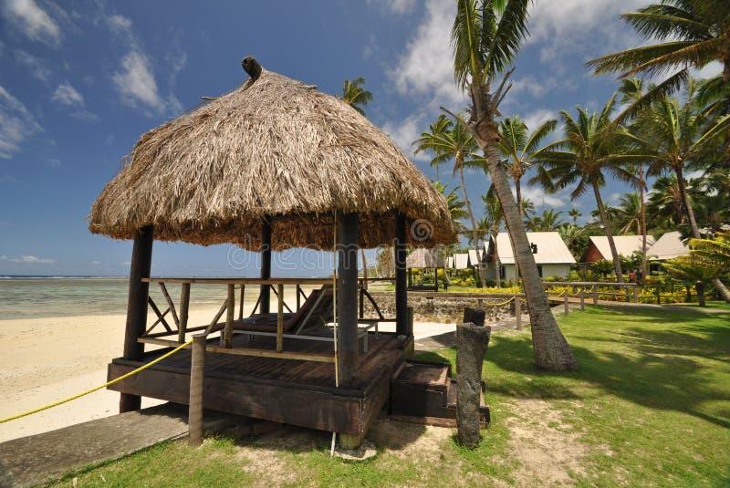南太平洋海滩小屋 免版税库存图片
