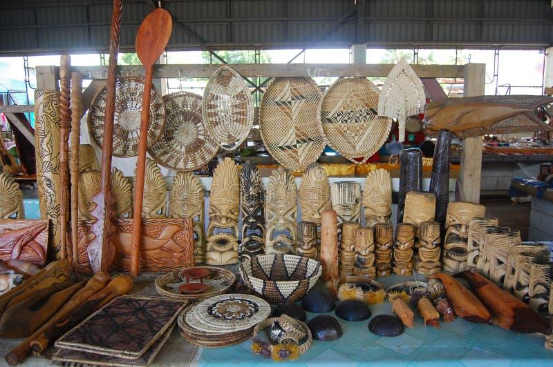 南太平洋纪念品在镇市场上 免版税图库摄影