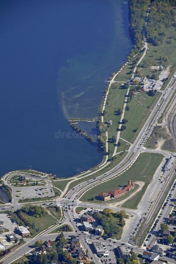 南岸公园Barrie,空中 库存图片