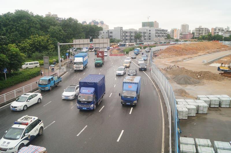 南投深圳变革项目和交通风景 免版税库存照片