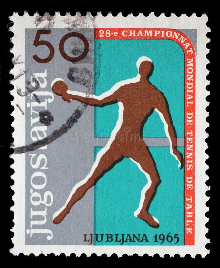南斯拉夫打印的邮票在卢布尔雅那显示第28世乒赛 免版税图库摄影