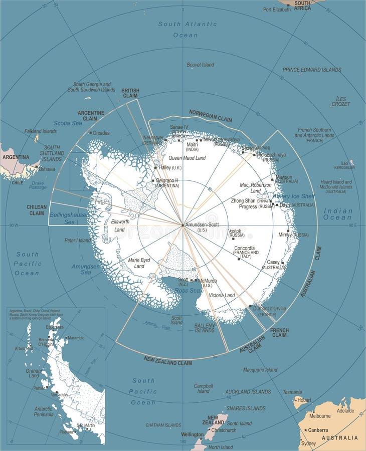 南极地区地图-传染媒介例证. 设备, 计算机.图片