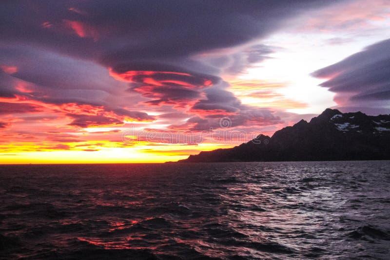 南极日落在南极洲 库存照片