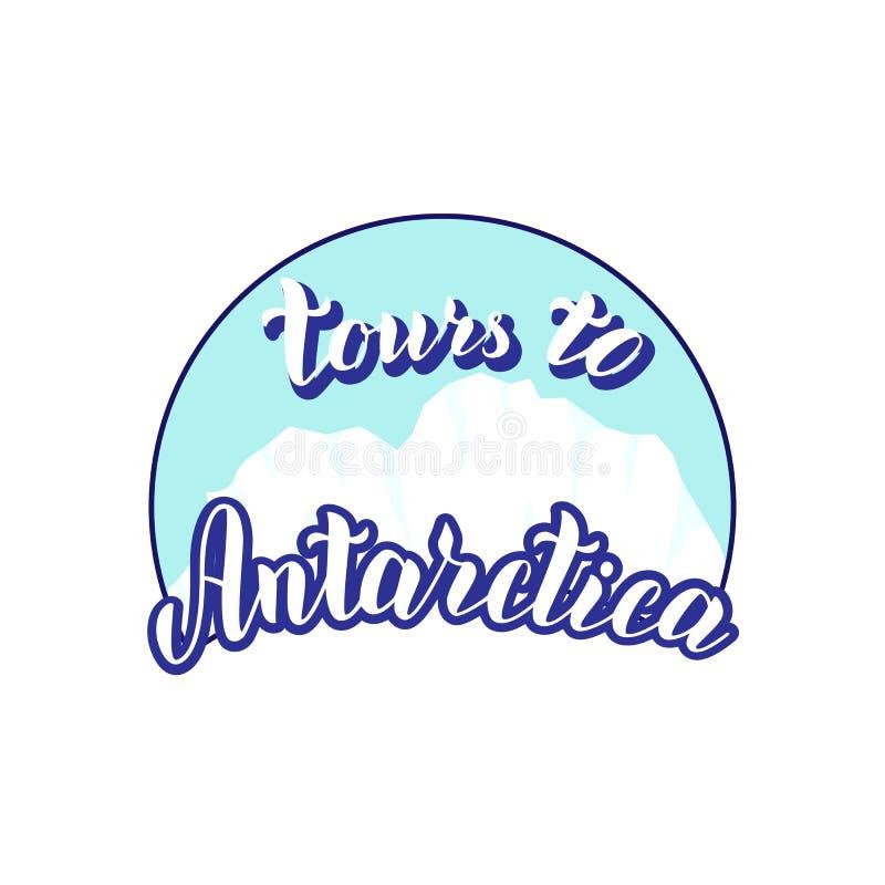 南极洲游览印刷术商标 与在文本上写字的时髦冰山例证 旅行公司海报的,横幅标志 库存例证