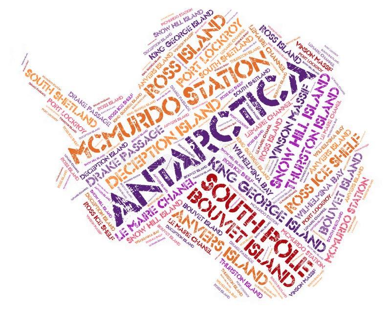 南极洲上面旅行目的地词云彩 库存照片