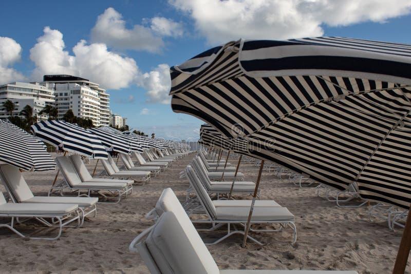 南海滩迈阿密:白色和蓝色镶边伞和sunbeds在海滩 海滩生活,假期,假日心情 库存照片