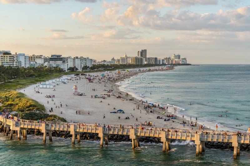 南海滩,日落的迈阿密海滩,佛罗里达,美国 免版税库存照片