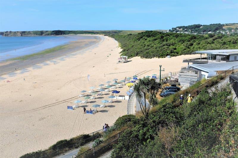 南海滩, Tenby,南威尔士,英国 库存图片