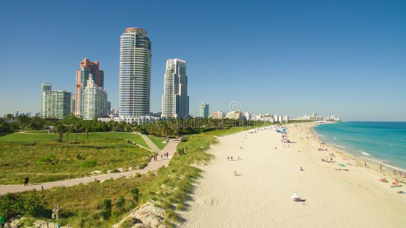 南海滩,迈阿密海滩 佛罗里达 鸟瞰图 免版税库存照片