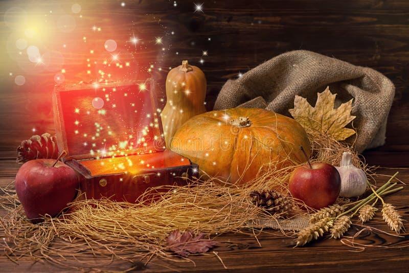 南瓜、苹果、大蒜、秸杆和opene的感恩概念 免版税图库摄影
