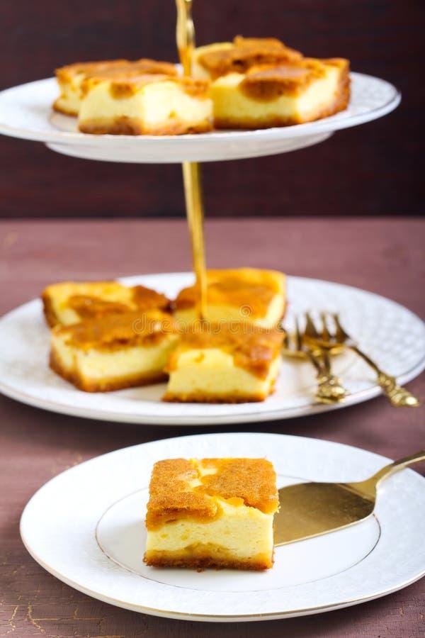 南瓜乳酪蛋糕酒吧 库存图片