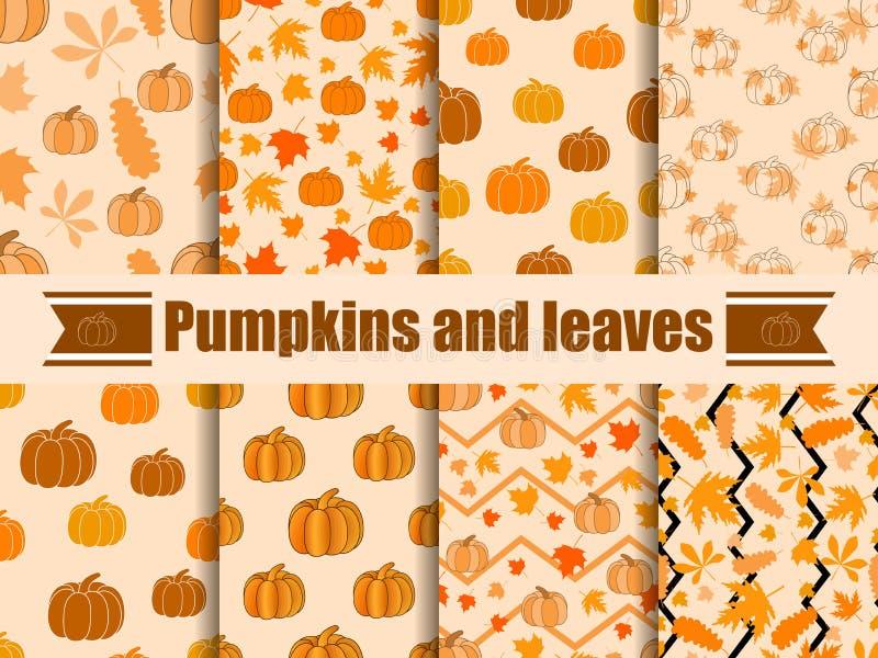 南瓜和叶子无缝的样式 秋天背景的汇集 向量 库存例证