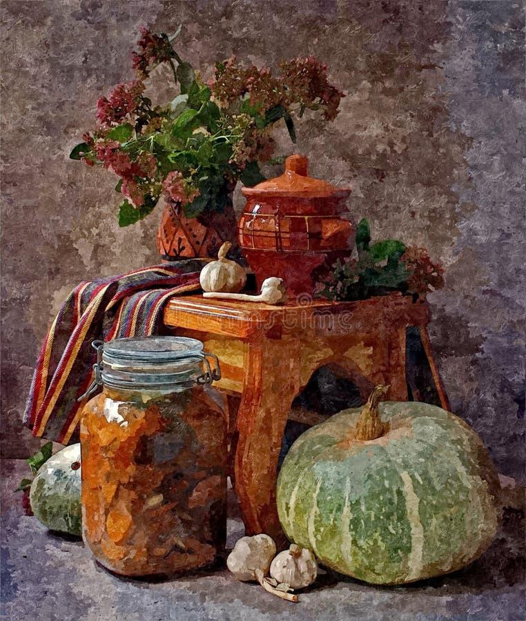 南瓜和家装于罐中 土气的生活仍然 在纸的绘的湿水彩 天真艺术 抽象派 图画水彩 库存例证