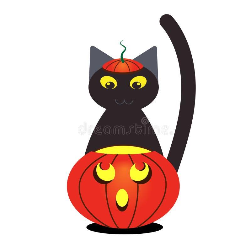 南瓜和恶意嘘声与一个帽子为万圣节 与黄色眼睛的欢乐动画片猫 适用于明信片,横幅, 库存例证