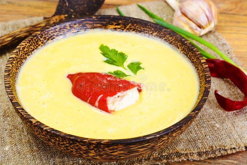 南瓜土豆纯汁浓汤奶油汤用烤甜椒和果阿 库存图片