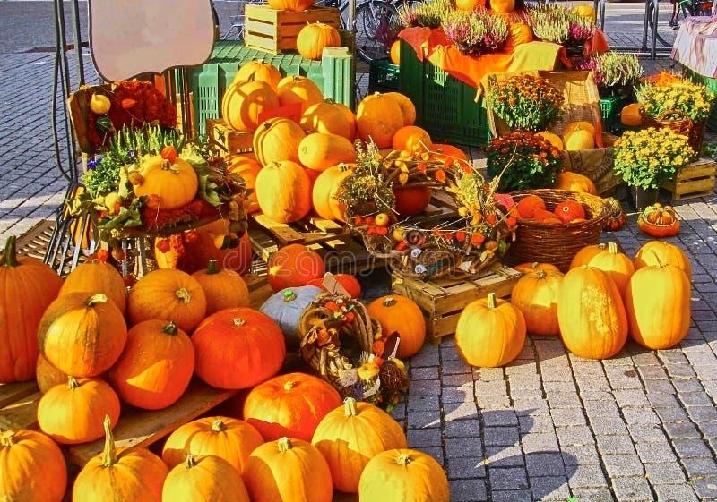 南瓜在水果市场上 免版税库存图片