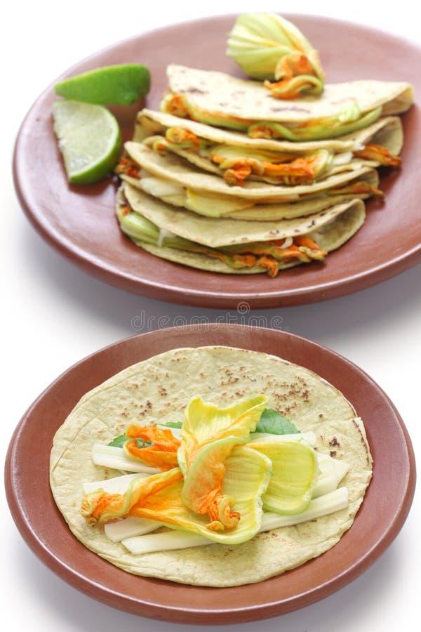 南瓜开花油炸玉米粉饼,墨西哥食物 图库摄影