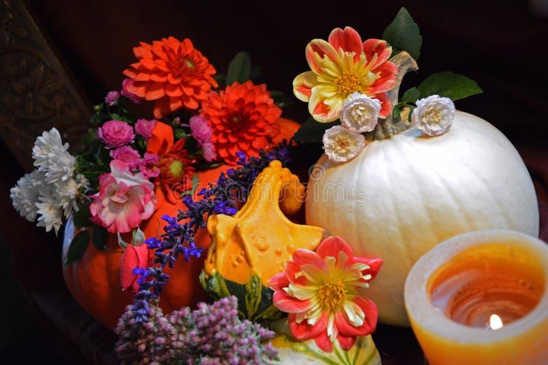 南瓜开花蜡烛与玫瑰的焦点装饰 库存照片