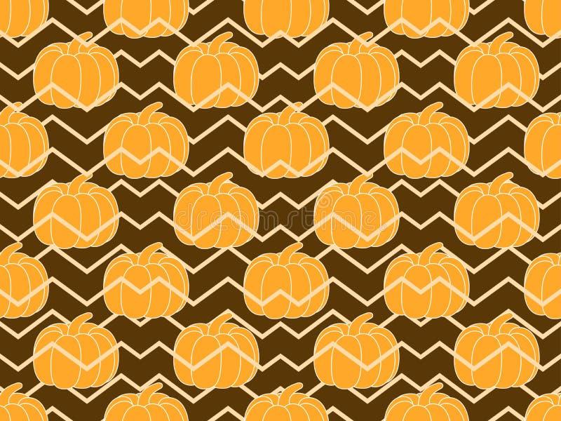 南瓜无缝的模式 秋天背景特写镜头上色常春藤叶子橙红 皇族释放例证
