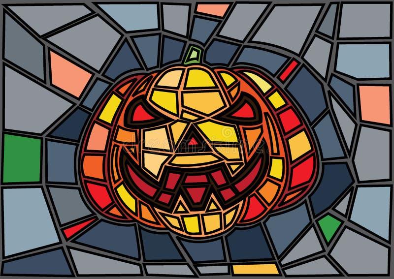 南瓜标志 ?? 在白色背景的彩色玻璃象 五颜六色的多角形 ?? 向量例证