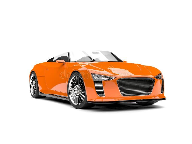 南瓜橙色现代敞蓬车超级跑车 库存例证