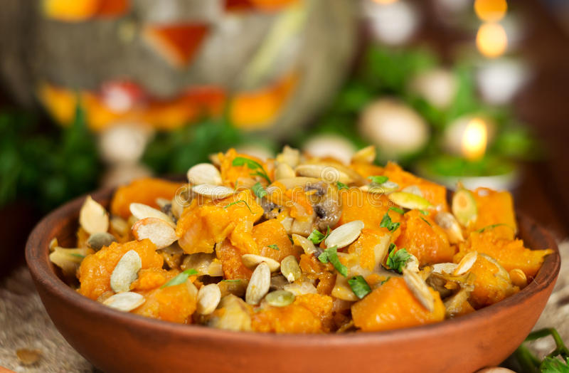 南瓜炖煮的食物 免版税图库摄影