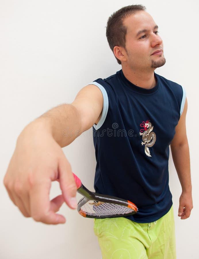 南瓜球员倾斜球拍 免版税库存照片