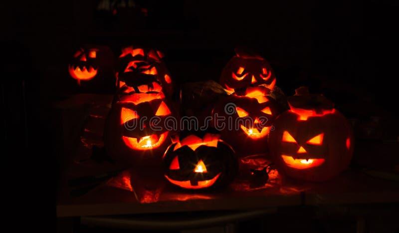 南瓜起重器10月,起重器,可怕,令人毛骨悚然,夜,黑色,亮光,灯,蜡烛 免版税图库摄影