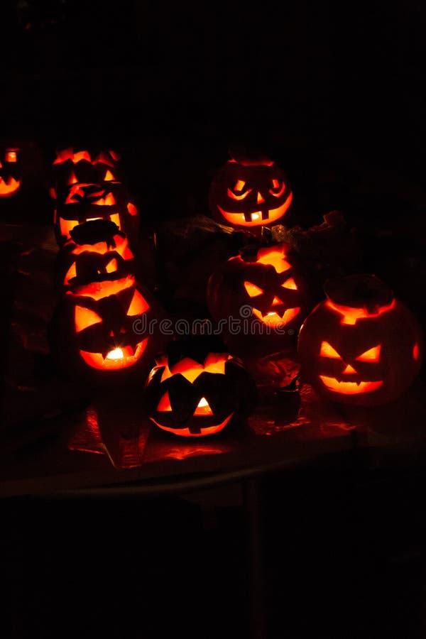 南瓜起重器10月,起重器,可怕,令人毛骨悚然,夜,黑色,亮光,灯,蜡烛 免版税库存照片
