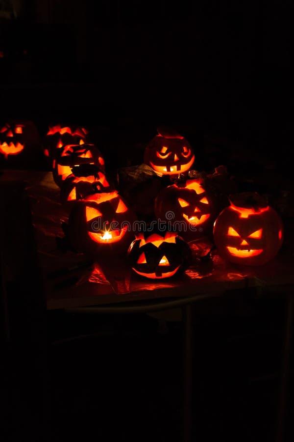 南瓜起重器10月,起重器,可怕,令人毛骨悚然,夜,黑色,亮光,灯,蜡烛 免版税库存图片
