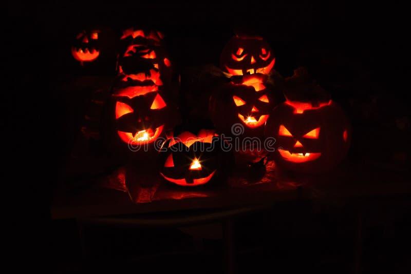 南瓜起重器10月,起重器,可怕,令人毛骨悚然,夜,黑色,亮光,灯,蜡烛 库存图片