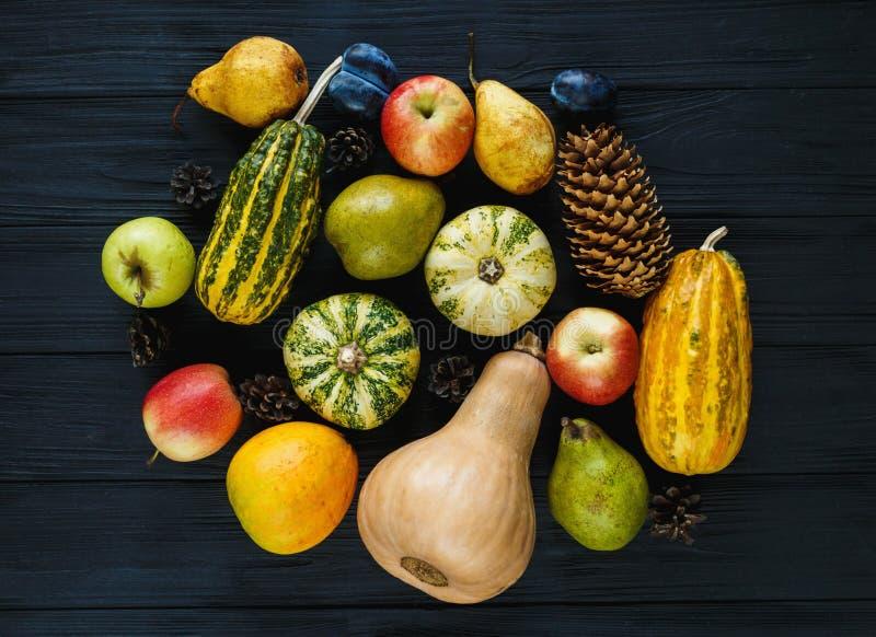 南瓜,梨,李子,在黑木桌,顶视图,文本的自由空间上的苹果 感恩节结构的菜 免版税库存照片