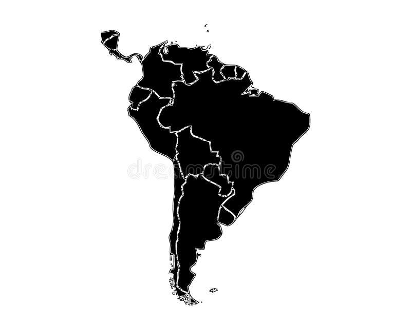 南美一张被概述的地图黑白口气的 在空白背景查出的所有 向量例证