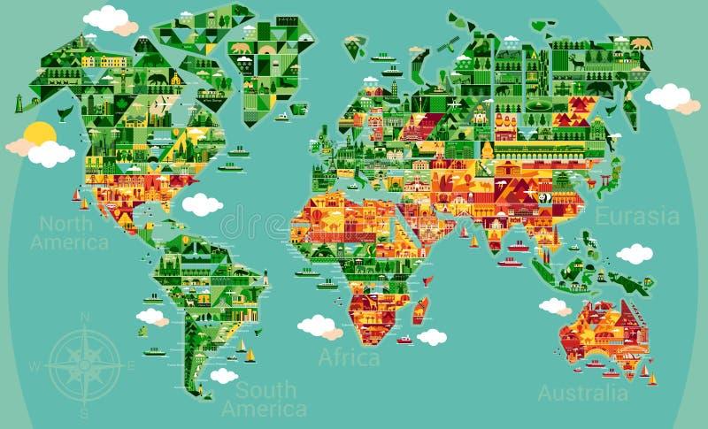 南美动画片地图  皇族释放例证