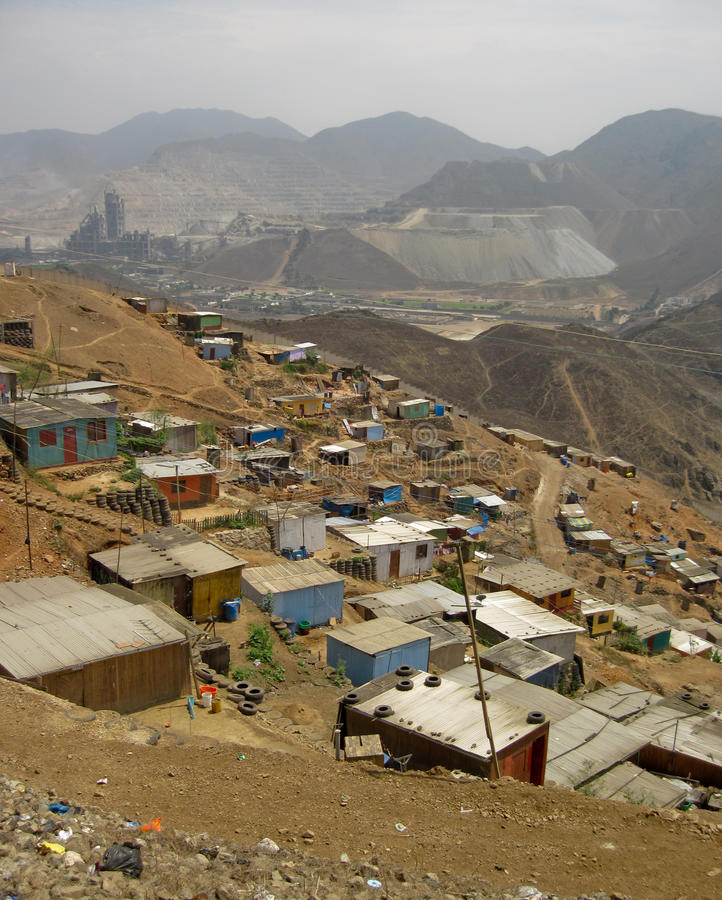 南美国利马的贫民窟 库存图片