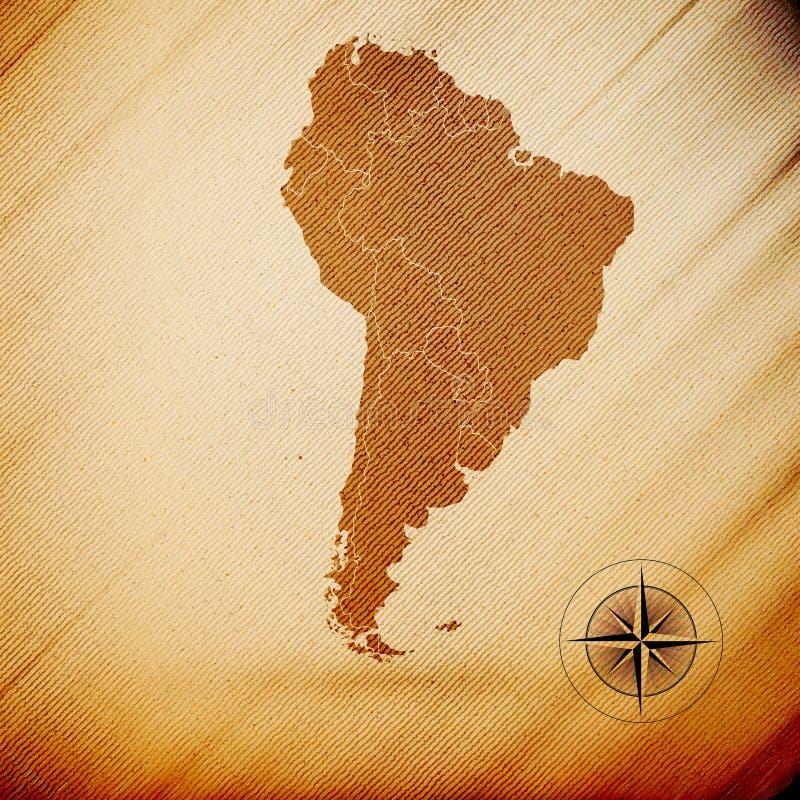 南美地图,木设计背景, 皇族释放例证