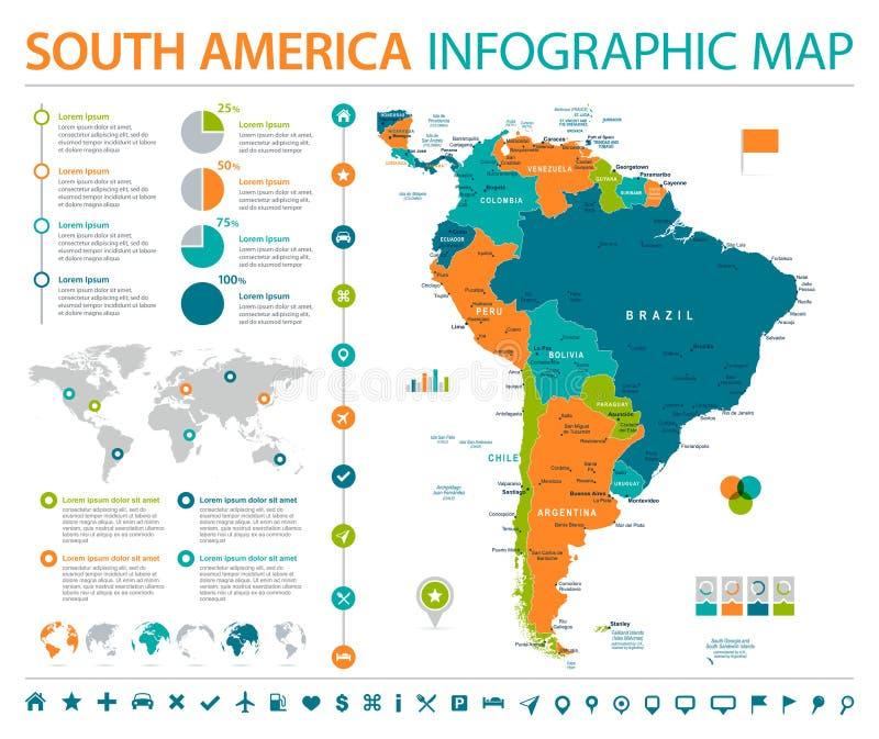 南美地图-信息图表传染媒介例证 向量例证