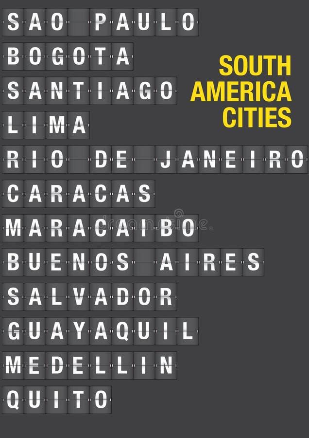 南美城市的名字机场轻碰委员会的 皇族释放例证