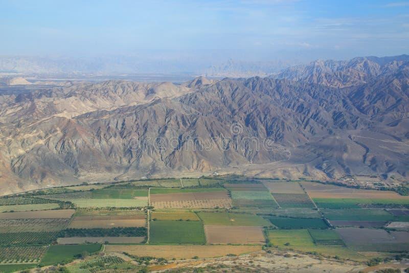 南美大草原在纳斯卡,秘鲁附近的de Jumana鸟瞰图  免版税库存照片