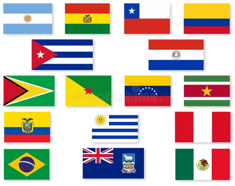 南美旗子集合 库存例证