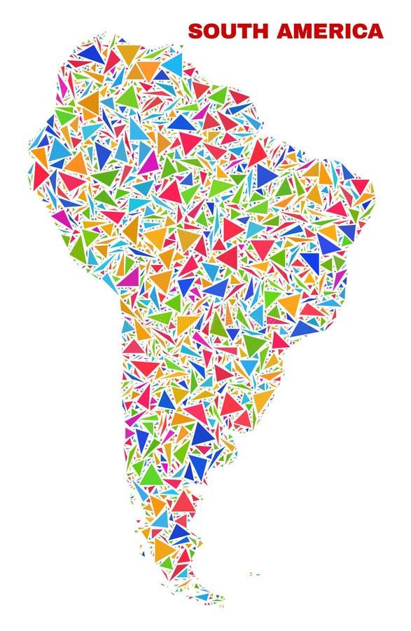 南美洲地图-颜色三角马赛克  库存例证